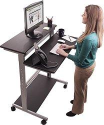 Black Shelves Mobile Ergonomic Stand Up Desk